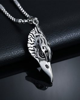 Adogeo Fashion New Eagle Eye Pendant Necklace Stainless Steel Eagle Head Pendant Stone Bead Chain Necklace Men Jewelry Christmas Gift