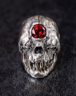 Adogeo Gothic Stainless Steel Titanium Ring Cyclops Skull Ring Red Cz Crystal Rings Mens Biker Jewelry