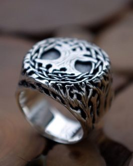 Adogeo Infinity Yggdrasil Signet Ring Mens Tree of Life Silver Stainless Steel Amulet Ring Nature Jewelry