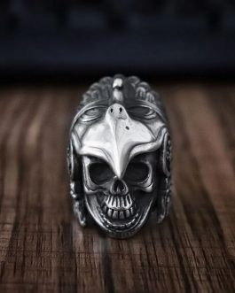 Adogeo Mens Boys Indian Aztec Eagle Warrior Skull Ring Heavy 316L Stainless Steel Ring Punk Biker Jewelry Gift for Him