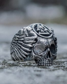 Adogeo Odin with Ravens Stainless Steel Ring Mens Silver Viking Valknut Sukll Ring Norse Amulet Jewelry