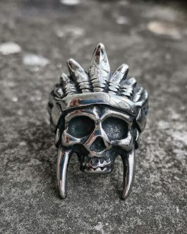Adogeo Punk Silver Color Stainless steel Skull Ring Men's Hip Hop Indian Chief Biker Rings Jewelry
