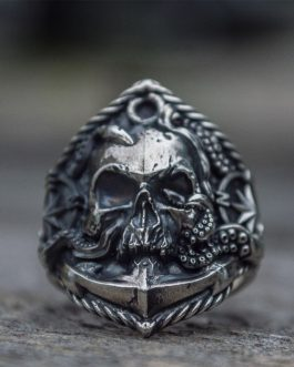 Adogeo cAnchor Seaman Stainless Steel Ring Unique Compass Octopus Tentacle Skull Biker Rings Punk Sailor Jewelry