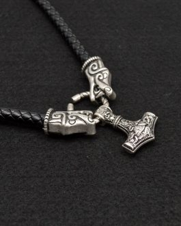 Adogeo 1pc Norse Viking Pendant Hammer Necklace For Men Animal Jewelry