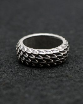 Adogeo 1pcs Viking Dragon Rings Jewelry Feather Ring Unique Dragonscale Rings For Women Men Size 8 Antique Silver RG96