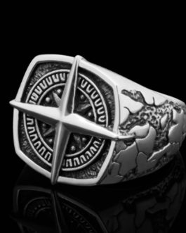 Adogeo 2019 Trendy Pirate Nordic Vintage Viking Navigation Cross Hip Hop Punk Rock Silver Ring for Men Women Luxury Rings Male Jewelry