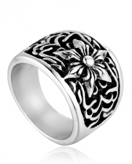 Adogeo Men's Plant Flower Flat Ring Stainless Steel Exaggerated Punk Style Viking Ring Classic Silver Ring Set Street Accessories