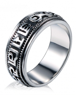 Adogeo Oulai777 Ring Men Wholesale Stainless Steel  Back Ring Vintage Lord Of The Dainty Mens Rings Silver Punk Male Fashion Jewelry