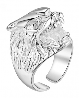 Adogeo 2018 Fashion Argent 925 Jewelry Adjustable Viking Wolf Ring Anillo Lobo Tiger Ring Silver Stainless Steel Rings For Women Men