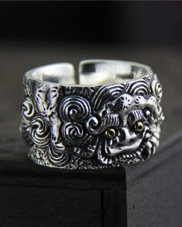Adogeo Genuine Solid 925 Sterling Silver Rings Vintage Wide Rings For Men Lucky Pixiu Viking Rings Fine Jewellery Anel Masculino