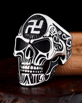 Adogeo Gothic Skull Ring For Men Charm Gold Silver Color Buddha Letter Single Ring Hiphop Rock Viking Ring Man Accessories Sieraden