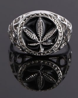 Adogeo Hollow Design Round Maple Leaf Signet Finger Rings For Men Jewelry Male Ring Anel Masculino Bague Homme
