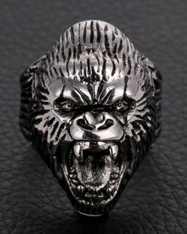 Adogeo Punk Gorilla King Kong Head Finger Ring For Men Personality Animal Jewelry Male Gift