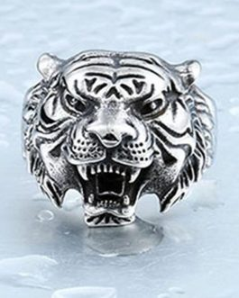 Adogeo Punk Tiger Head Finger Ring For Men Male Animal Jewelry Bague Homme Anel Masculino Anillos Hombre