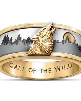 Adogeo Jewelry Ring Call Fashion Band Viking Men's the Silver Two Tone of wild Wolf
