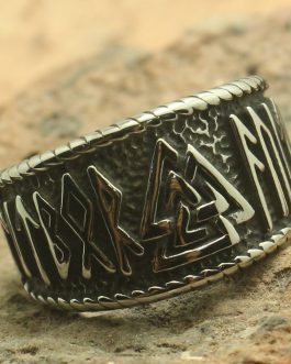 Adogeo Men Boy 316L Stainless Steel Cool Silver Viking Style Newest Ring