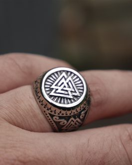Adogeo Men Viking Stainless Steel Ring Valknut Norse Style Odin Runes Amulet Rings Silver Norse Jewelry