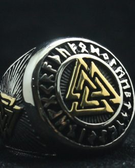 Adogeo Mens 316L Stainless Steel Cool Punk Gothic Golden Silver Viking Vintage Ring