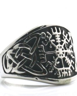 Adogeo Mens 316L Stainless Steel Cool Silver Viking Amulet Ring Newest