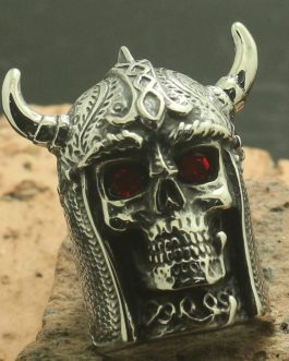 Adogeo Newest Men Boy 316L Stainless Cool Big Skull Red Stone Eye Northern Europe Style Viking Silver Ring