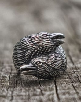 Adogeo Norse Style Surround Two Crows Rings Mens Scandinavian Silver Stainless Steel Ring Viking Jewelry