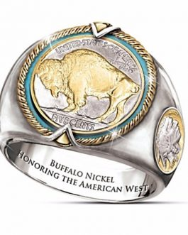 Adogeo 925 Sterling Silver Buffalo Coins US West Cowboy Viking Pirate Bull Ring for Man Punk Vintage Male Jewelry Gifts