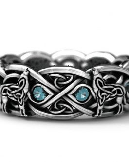 Adogeo Punk Vintage Blue Stone Wedding Ring 925 Sterling Silver Wolf Totem Ring for Man Woman Jewelry Gifts