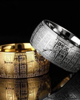 Adogeo Wide 11 MM Carved Ancient Chinese Buddhism Scripture Supernatural Mens Signet Rings Stainless Steel Gold And Silver Thumb Ring