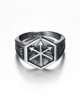 Adogeo Norse Viking Arrow Symbol Hexagon Ring for Men Antique Silver Color Punk Biker Jewelry Geometric Sexangle Rings Jewelry