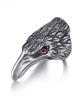 Adogeo Punk Rock Eagle Head Men 's Ring Luxury Silver  Color Resizeable To 7-13 Finger Jewelry Never Fade